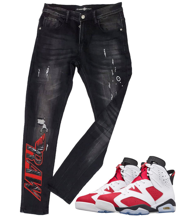 RAW PU Red Denim Jeans - Black