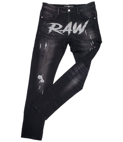 Cursive RAW AB. Clear Bling Denim Jeans - Heavy Metal