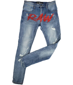Cursive RAW Red Bling Denim Jeans - Blue