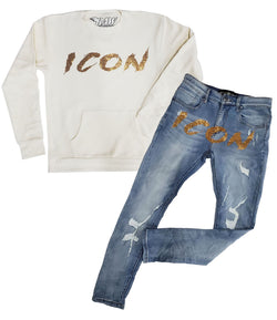 Cursive ICON Gold Bling Long Sleeves and Denim Jeans Set - Cream Shirts / Blue Jeans