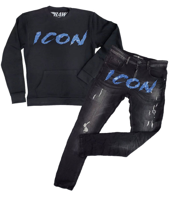 Cursive ICON Light Blue Bling Long Sleeves and Denim Jeans Set - Black Shirts / Black Jeans