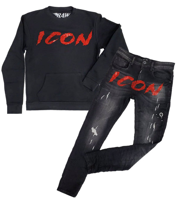 Cursive ICON Red Bling Long Sleeves and Denim Jeans Set - Black Shirts / Black Jeans