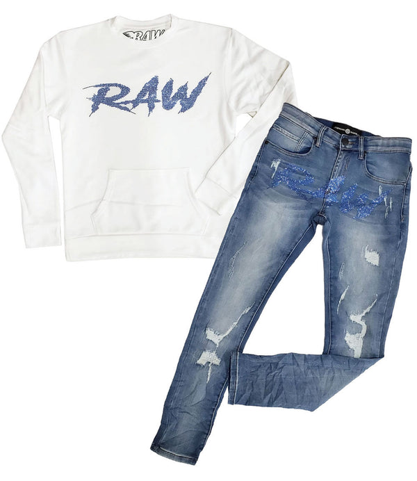 Cursive RAW Light Blue Bling Long Sleeves and Denim Jeans Set - White Shirts / Blue Jeans