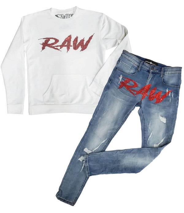 Cursive RAW Red Bling Long Sleeves and Denim Jeans Set - White Shirts / Blue Jeans