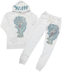 Blue Flame Wolf Bling Hoodie and Jogger Set - White Hoodie / White Jogger