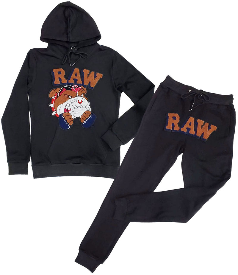 Bulldog Chenille Hoodie and Jogger Set - Black Hoodie / Black Jogger