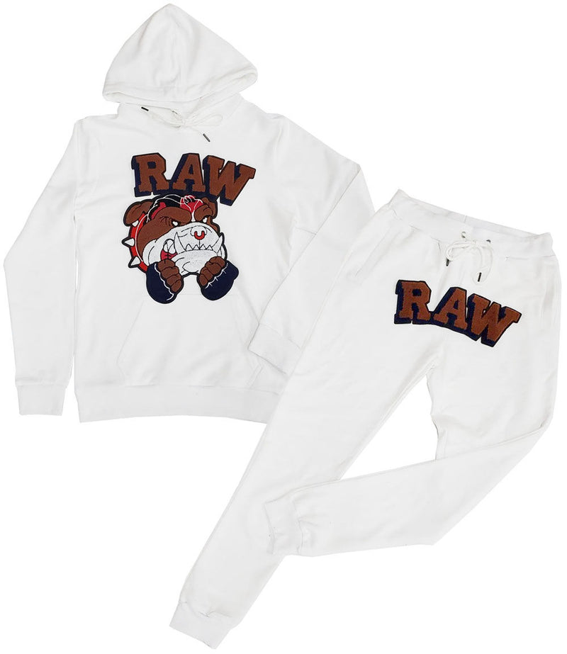 Bulldog Chenille Hoodie and Jogger Set - White Hoodie / White Jogger