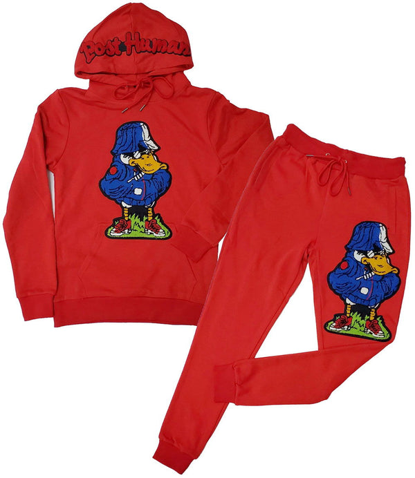 Duck Chenille Hoodie and Duck Chenille Joggers Set - Red Hoodie / Red Jogger