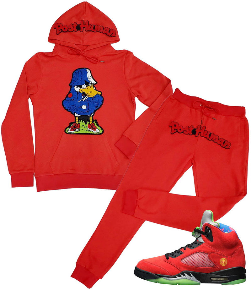Duck Chenille Hoodie and Joggers Set - Red Hoodie / Red Jogger