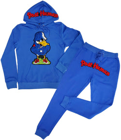 Duck Chenille Hoodie and Post Human Chenille Joggers Set - Royal Hoodie / Royal Jogger