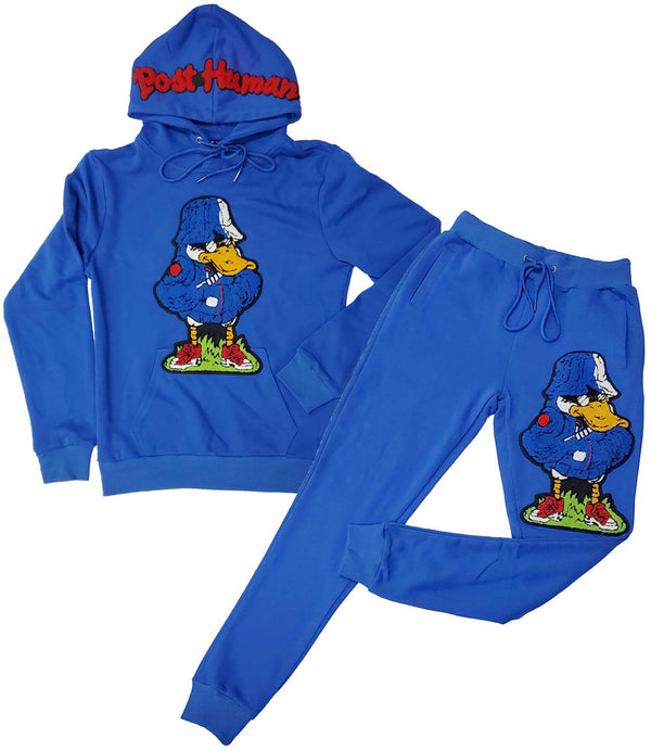 Duck Chenille Hoodie and Duck Chenille Joggers Set - Royal Hoodie / Royal Jogger