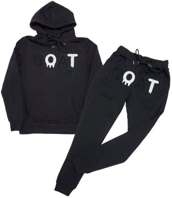GOAT Black Chenille Hoodie and Joggers Set - Black Hoodie / Black Jogger