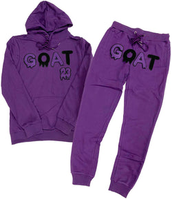 GOAT Purple Chenille Hoodie and Joggers Set - Purple Hoodie / Purple Jogger