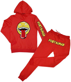 Happy Day Chenille Hoodie and Joggers Set - Red Hoodie / Red Jogger