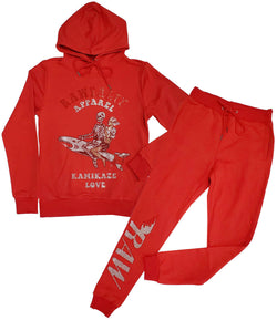 Kamikaze Love Bling Hoodie and Jogger Set - Red Hoodie / Red Jogger