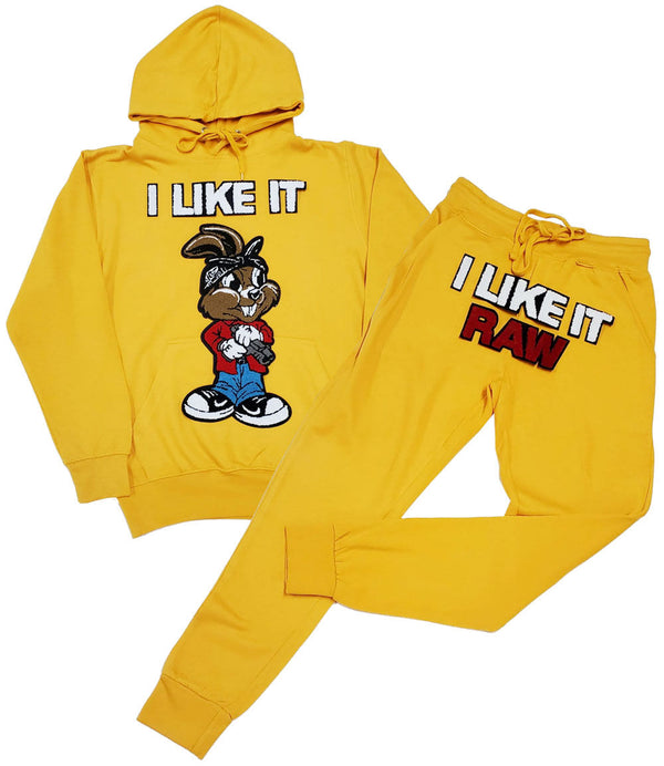 I Like It RAW Chenille Hoodie and Joggers Set - Light Gold Hoodie / Light Gold Jogger