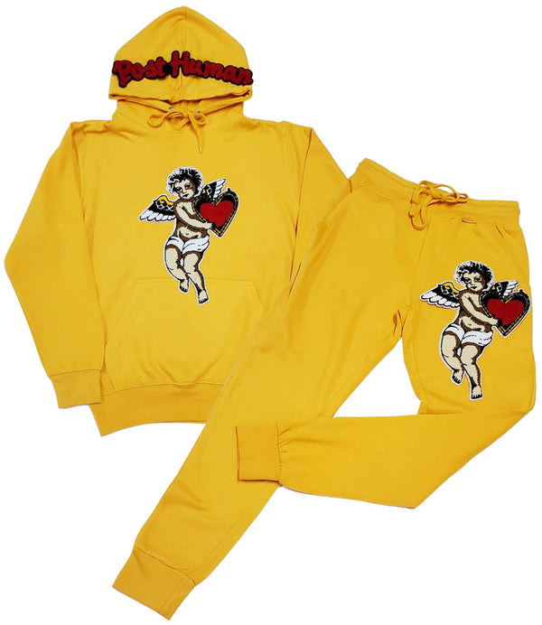 Post Human Angel Chenille Hoodie and Joggers Set - Light Gold Hoodie / Light Gold Jogger