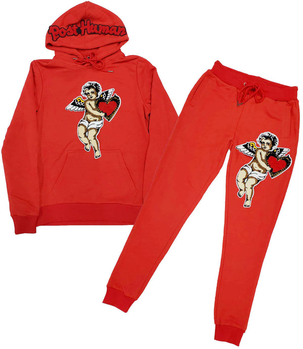 Post Human Angel Chenille Hoodie and Angel Chenille Joggers Set - Red Hoodie / Red Jogger