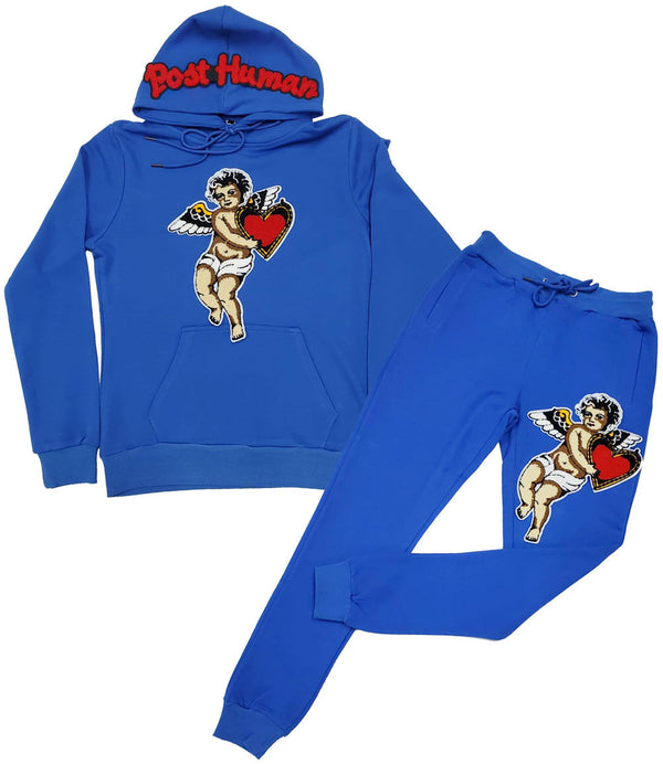 Post Human Angel Chenille Hoodie and Jogger Set - Royal Hoodie / Royal Jogger