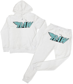 RAW Aqua Chenille Hoodie and Jogger Set - White Hoodie / White Jogger