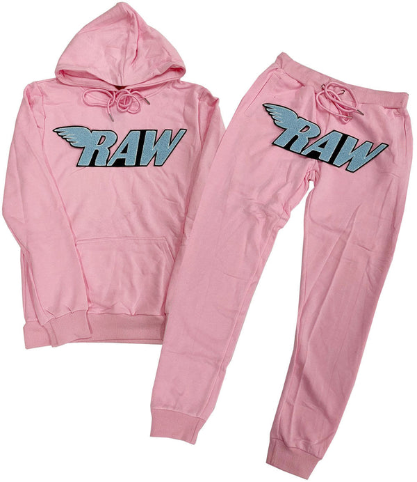 RAW Baby Blue Chenille Hoodie and Joggers Set - Pink Hoodie / Pink Jogger