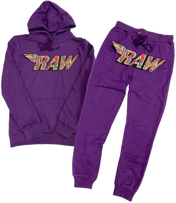 RAW Bel Air Chenille Hoodie and Joggers Set - Purple Hoodie / Purple Jogger