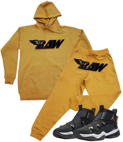 RAW PU Black Hoodie and Joggers Set - Gold / Gold