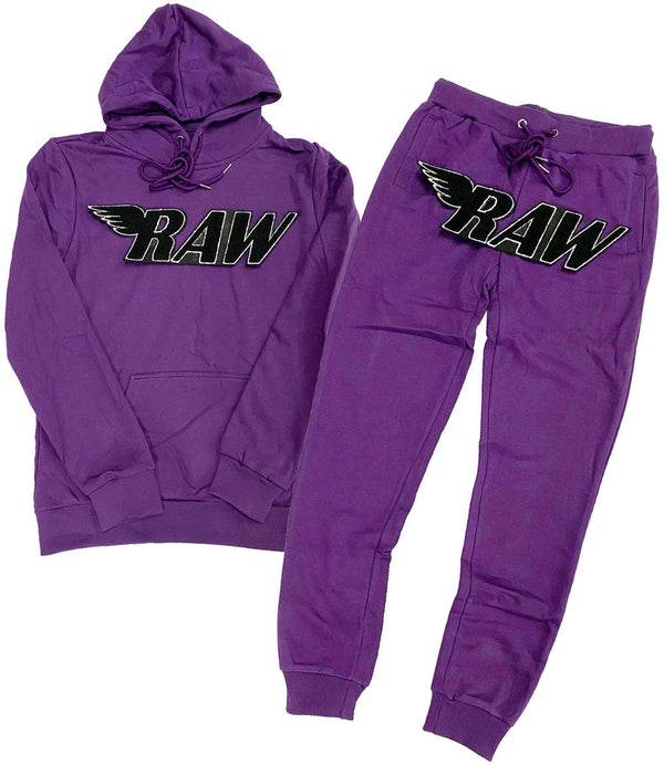 RAW Black Chenille Hoodie and Joggers Set - Purple Hoodie / Purple Jogger