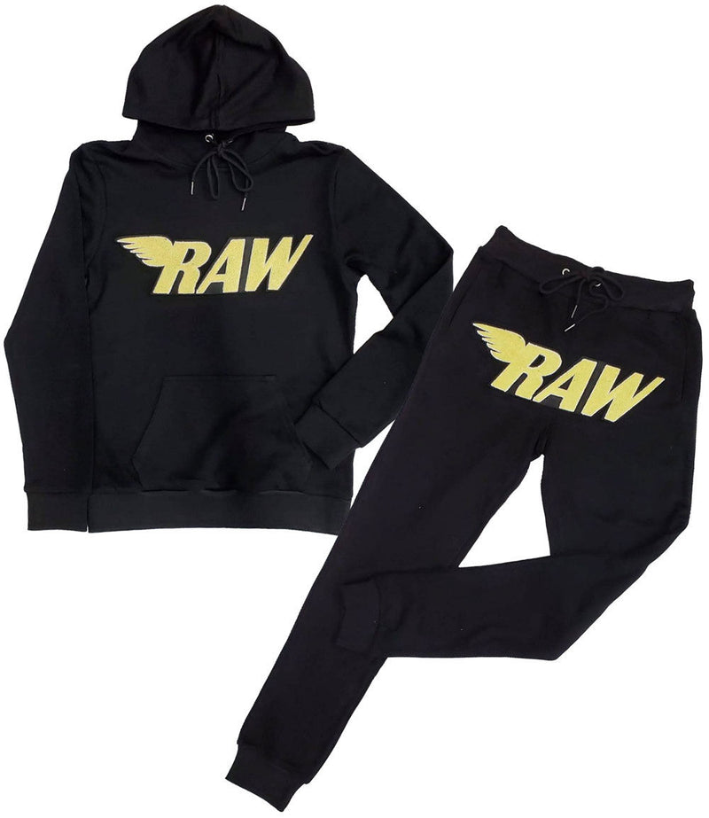 RAW Bright Yellow Chenille Hoodie and Jogger Set - Black Hoodie / Black Jogger
