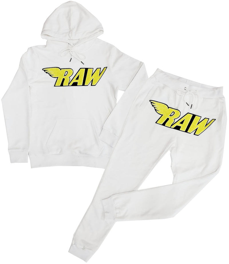 RAW Bright Yellow Chenille Hoodie and Jogger Set - White Hoodie / White Jogger