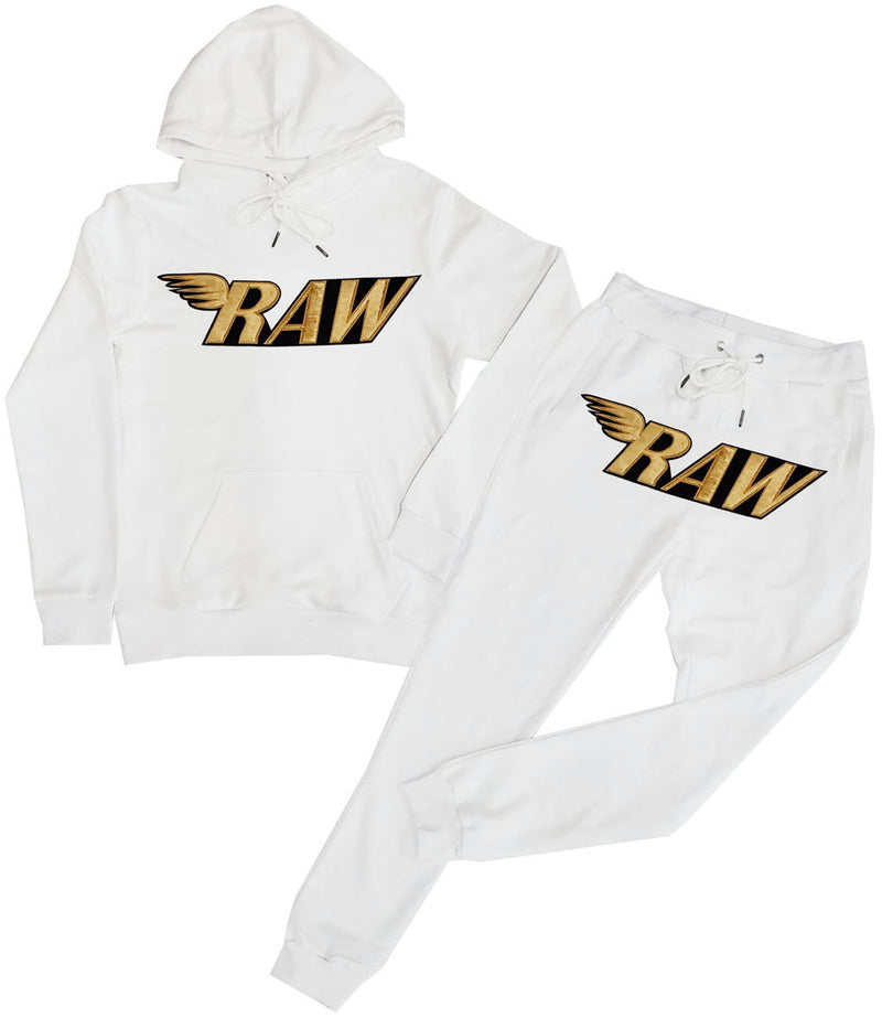 RAW Gold Velvet Hoodie and Jogger Set - White Hoodie / White Jogger