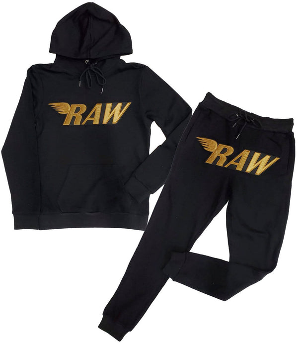 RAW Gold Velvet Hoodie and Jogger Set - Black Hoodie / Black Jogger