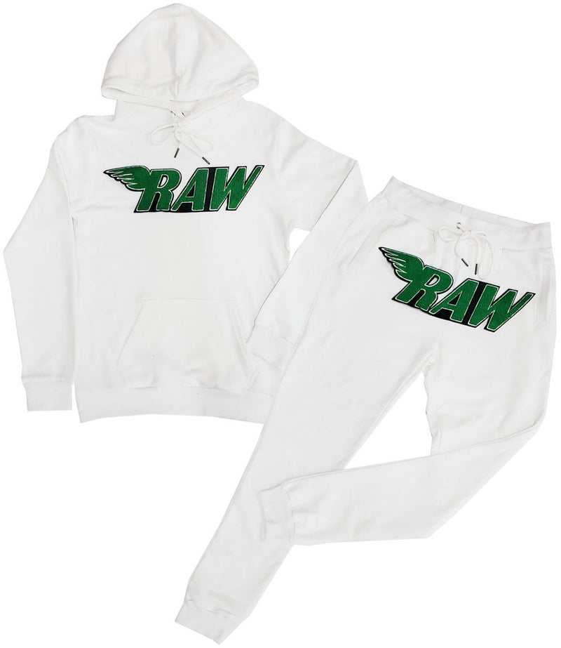 RAW Green Chenille Hoodie and Jogger Set - White Hoodie / White Jogger