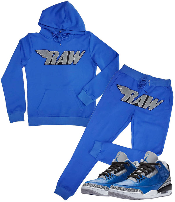RAW Grey Chenille Hoodie and Joggers Set - Royal Hoodie / Royal Jogger