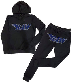 RAW Midnight Navy Chenille Hoodie and Jogger Set - Black Hoodie / Black Jogger