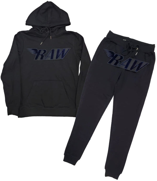 RAW Navy Velvet Hoodie and Jogger Set - Black Hoodie / Black Jogger