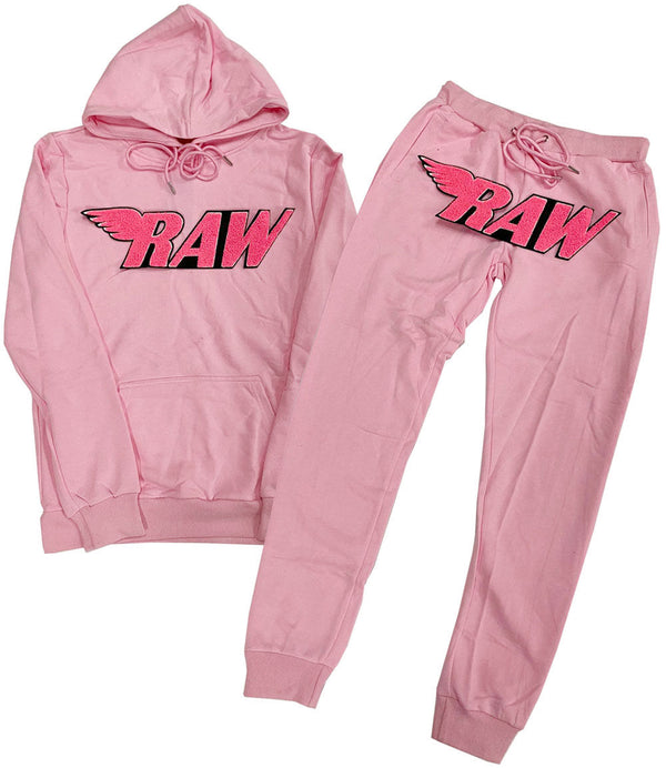 RAW Neon Pink Chenille Hoodie and Joggers Set - Pink Hoodie / Pink Jogger