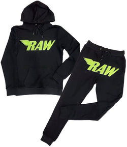 RAW Neon Yellow Chenille Hoodie and Jogger Set - Black Hoodie / Black Jogger