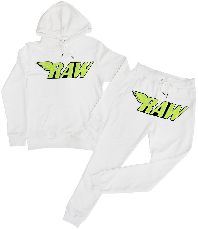 RAW Neon Yellow Chenille Hoodie and Jogger Set - White Hoodie / White Jogger