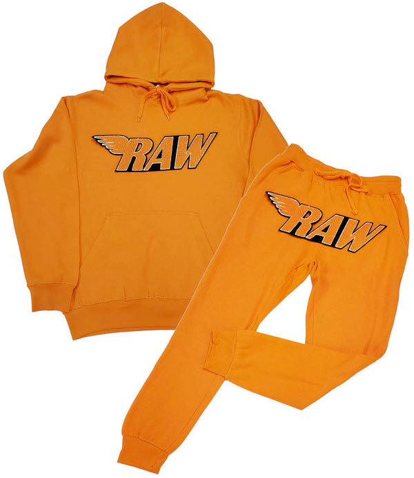RAW Orange Chenille Hoodie and Joggers Set - Orange Hoodie / Orange Jogger