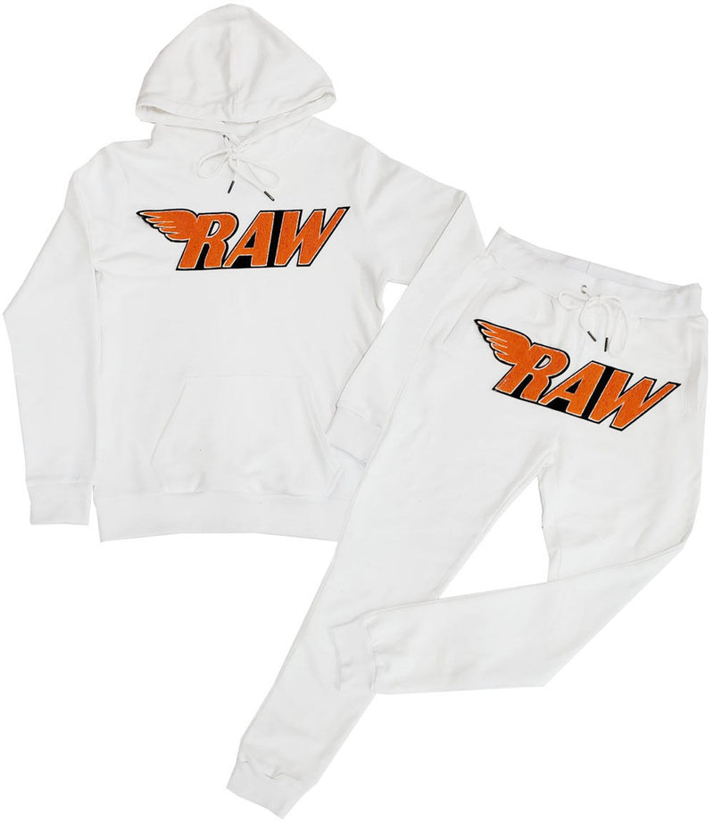 RAW Orange Chenille Hoodie and Jogger Set - White Hoodie / White Jogger