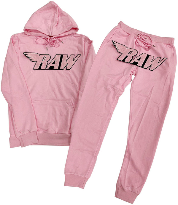 RAW Pink Chenille Hoodie and Joggers Set - Pink Hoodie / Pink Jogger