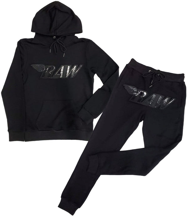 RAW PU Black Hoodie and Jogger Set - Black Hoodie / Black Jogger