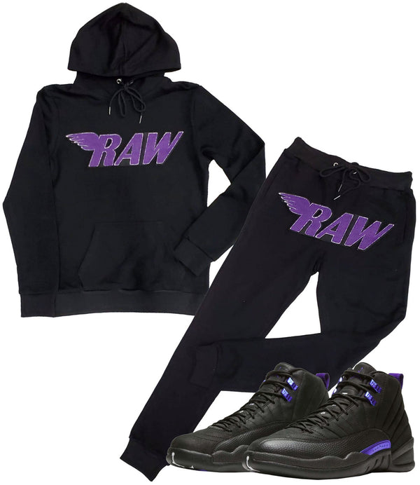 RAW Purple Chenille Hoodie and Jogger Set - Black Hoodie / Black Jogger