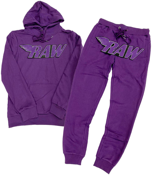 RAW Purple Chenille Hoodie and Joggers Set - Purple Hoodie / Purple Jogger