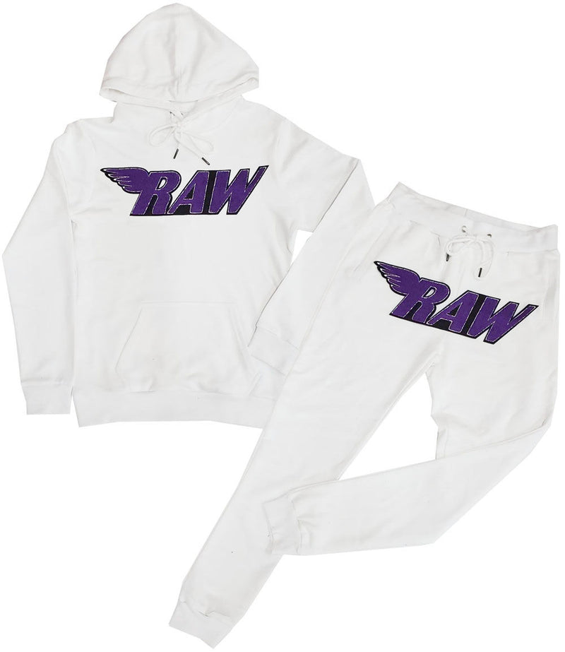 RAW Purple Chenille Hoodie and Jogger Set - White Hoodie / White Jogger