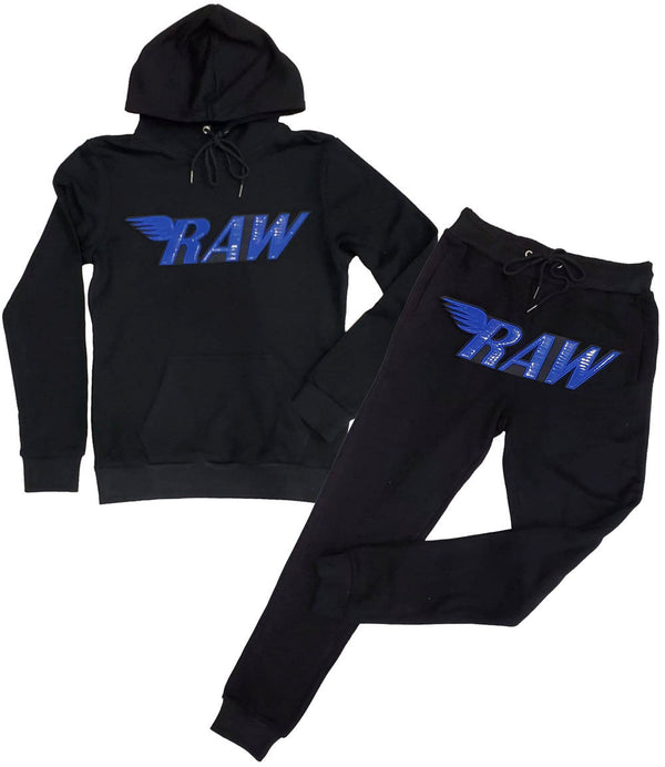 RAW PU Royal Hoodie and Jogger Set - Black Hoodie / Black Jogger