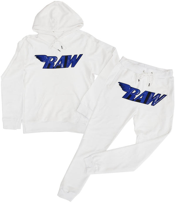 RAW PU Royal Hoodie and Jogger Set - White Hoodie / White Jogger