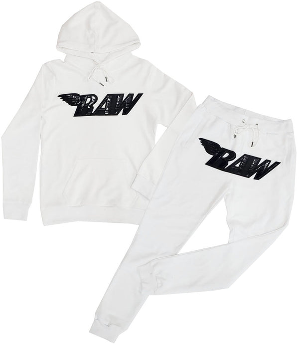 RAW PU Black Hoodie and Jogger Set - White Hoodie / White Jogger
