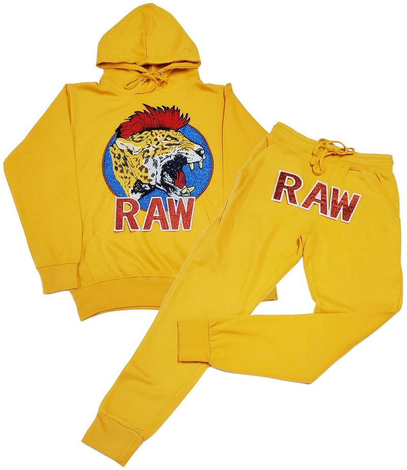Red Mohawk Tiger Embroidery Patch Hoodie and Joggers Set - Light Gold Hoodie / Light Gold Jogger